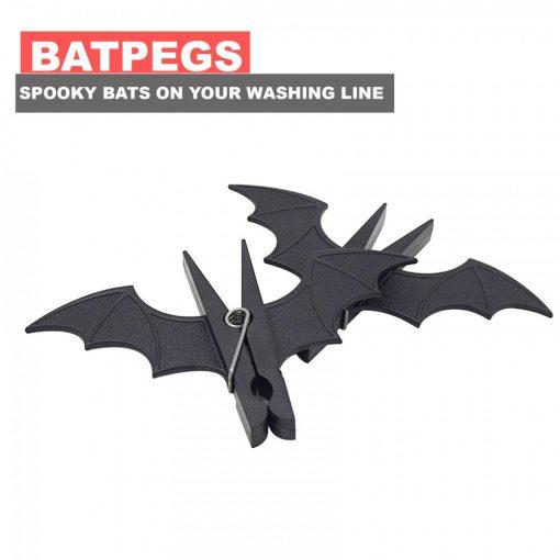 Bat Shaped Cloth Pegs - Black