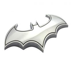 Batman Solid Metal Steel Emblem - Silver