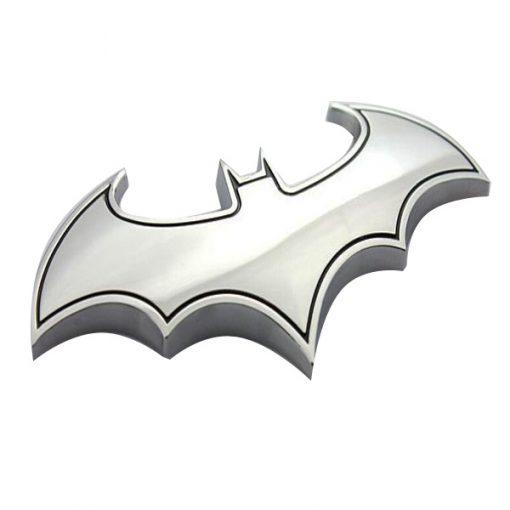 Batman Solid Metal Steel Emblem - Silver
