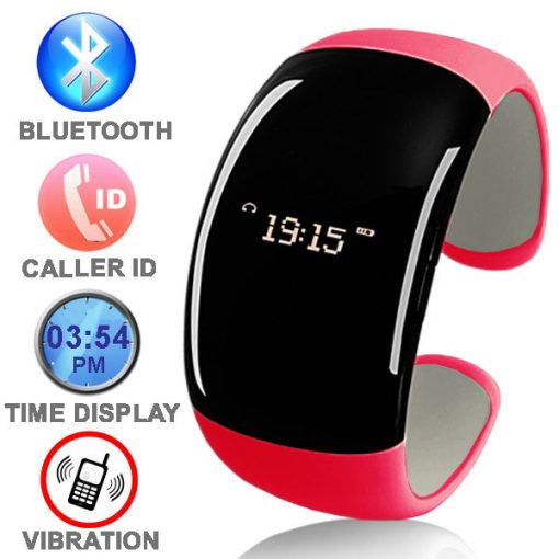 Bluetooth Bracelet with Time Display - Pink