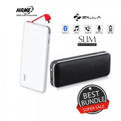 10000 mAh Slim Hame T6  Powerbank And Zilla  BT-202 Multifunction Speaker - Black