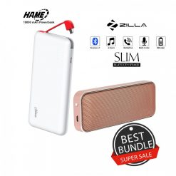 10000 mAh Slim Hame T6  Powerbank And Zilla  BT-202 Multifunction Speaker - Gold