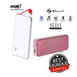 10000 mAh Slim Hame T6  Powerbank And Zilla  BT-202 Multifunction Speaker - Rose Gold