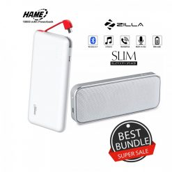 10000 mAh Slim Hame T6  Powerbank And Zilla  BT-202 Multifunction Speaker - White