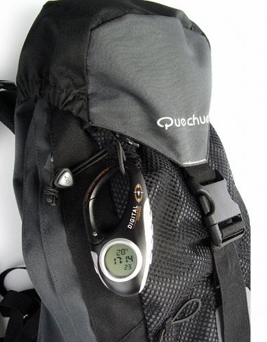 Digital Compass Carabiner with Thermometer  Clock  Stopwatch