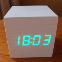 Digital Cube Wood Alarm Clock - White