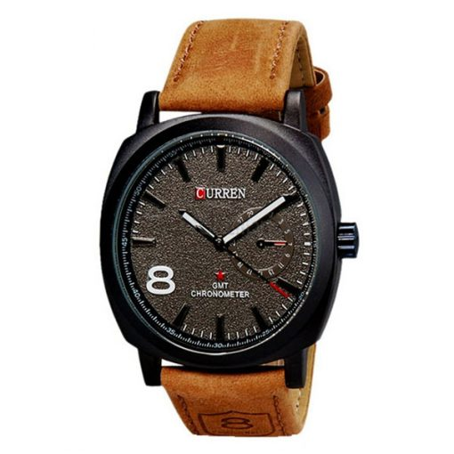 Men Fashion Leather Watch - Brown
