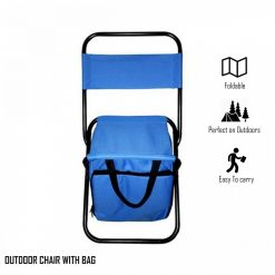 Portable Folding Chair with Storage Bag - Blue