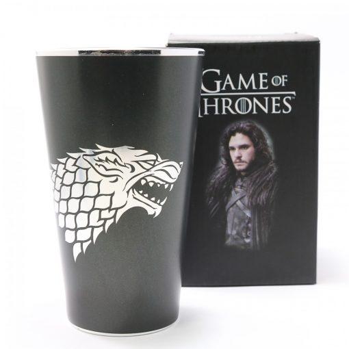 Game of Thrones Jon Snow of the House of Stark Glassware - Black