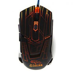 2400 DPI Adjustable Lighted Gaming Mouse - Black/Orange