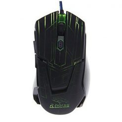 2400 DPI Adjustable Lighted Gaming Mouse - Black/Green