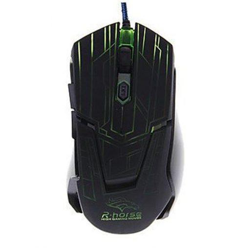 2400 DPI Adjustable Lighted Gaming Mouse - Black/Green