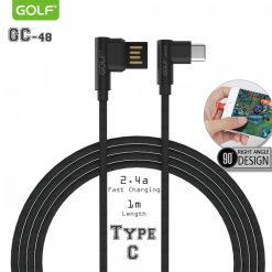 Golf GC-48 2.4A Type C Fast Charger And Data Transfer Elbow Type Fabric Cable With Reversible USB Connector 1 Meter - Black