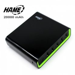 Hame 20000 mAh Super Power Bank With 5 USB Output Port And 2 Micro USB Charging Port - Black