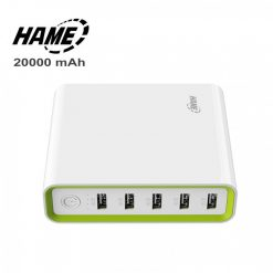 Hame 20000 mAh Super Power Bank With 5 USB Output Port And 2 Micro USB Charging Port - White