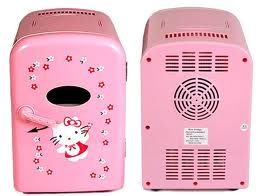 4 Liter Personal Mini Fridge Cooler and Warmer for Car and Home  - Pink Hello Kitty
