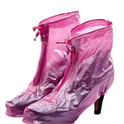 Plastic Zip Up Hi Heels Shoe Cover For Women - Pink