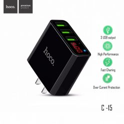 HOCO C15 3 USB Port Fast Charger  - Black