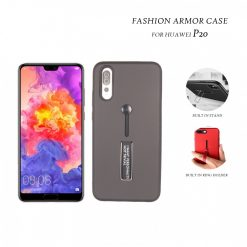 2 In 1 Armor Casing With Rubber Finger Holder and Metal Kick Stand For Huawei  P20  - Black