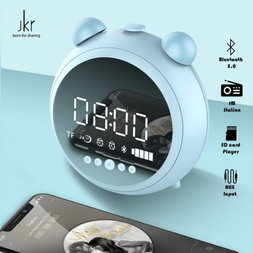 JKR Retro Alarm Clock and Multifunction Bluetooth Speaker with FM Aux and SD card Player - Blue