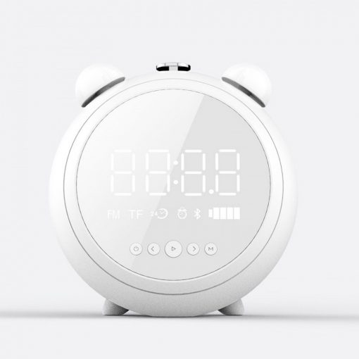 JKR Retro Alarm Clock and Multifunction Bluetooth Speaker with FM Aux and SD card Player - White