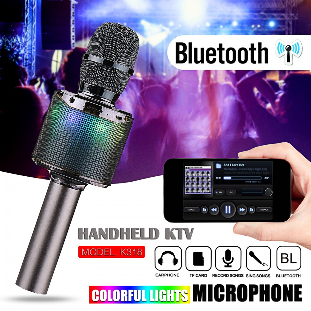 Bluetooth Microphone With Voice Changer - Gray - LatestGadget