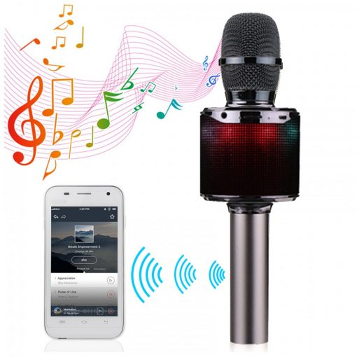 Bluetooth Microphone With Voice Changer - Gray