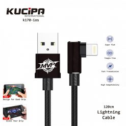 Kucipa K170-ios Nylon Braided Elbow Type Lightning Data and Charging Line 120 cm - Black