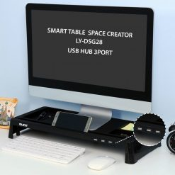Monitor Stand  Desk Organizer With USB Port - Black