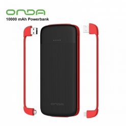Onda M100S 10000mAh Quick Charge Powerbank Slim External Battery Pack With Micro USB / Lightning / Type-C Cable - Black