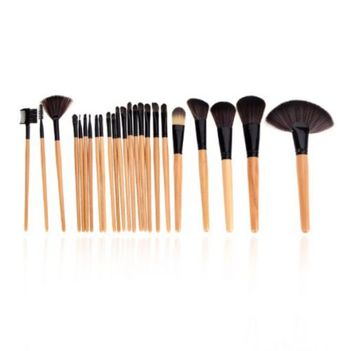 24 Pcs Makeup Brushes With Bag Case - Black
