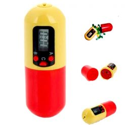 Pill Shape Medicine Box With Timer -Red/Yellow