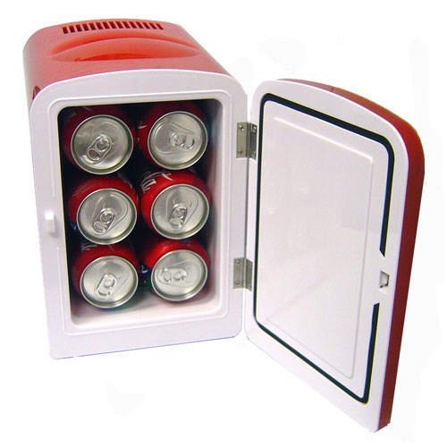 4 Liter Portable Personal Mini Fridge Cooler Warmer For Car Home and Office - Red