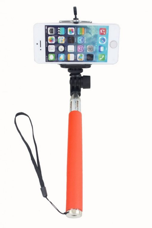 Monopod for Camera and Smartphones with Grip - Expandable 21 cm to 95 cm - Orange