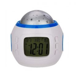 Music and Colorful Starry Sky Stars Projector Calendar Alarm Clock - White