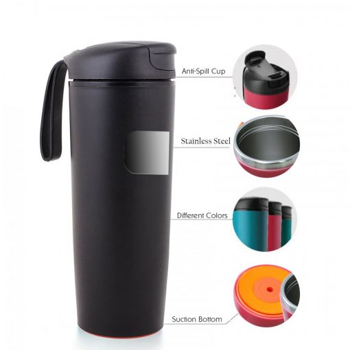 500 ml Thermal Suction Spill Free Tumbler - Black