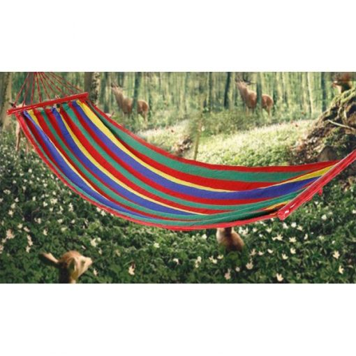 Portable Rainbow Outdoor Hammock Fabric Swing With Wood Support