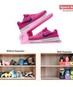 2 Pieces Adjustable Double Deck Shoe Rack Organizer 25 cm - Pink