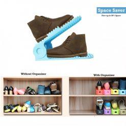 2 Pieces Adjustable Double Deck Shoe Rack Organizer 25 cm - Blue
