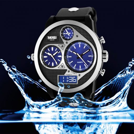 50M Waterproof Dual Mode 3 Time Zone Chrono Watch - Black/Blue Dial