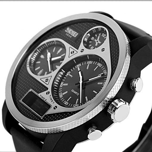50M Waterproof Dual Mode 3 Time Zone Chrono Watch - Black/Grey