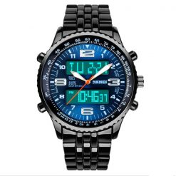30M Waterproof Dual Mode Metal Watch  - Blue Dial