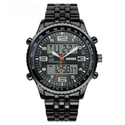 30M Waterproof Dual Mode Metal Watch - Grey Dial
