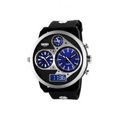 50M Waterproof Dual Mode 3 Time Zone Chrono Watch - Black/Blue Dial