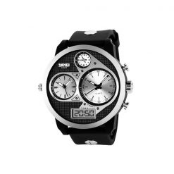 50M Waterproof Dual Mode 3 Time Zone Chrono Watch - Black/Grey