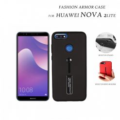 2 In 1 Armor Casing With Rubber Finger Holder and Metal Kick Stand For HUAWEI Nova 2 Lite - Black