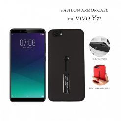 2 In 1 Armor Casing With Rubber Finger Holder and Metal Kick Stand For  Vivo Y71  - Black