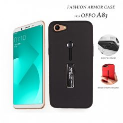 2 In 1 Armor Casing With Rubber Finger Holder and Metal Kick Stand For Oppo A83 - Black