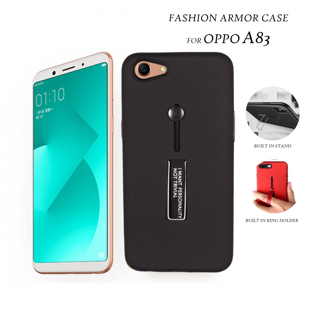 best website 0ccb8 e37be 2 In 1 Armor Casing With Rubber Finger Holder and Metal Kick Stand For Oppo  A83 - Black