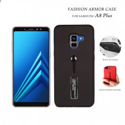 2 In 1 Armor Casing With Rubber Finger Holder and Metal Kick Stand For Samsung A8 Plus - Black